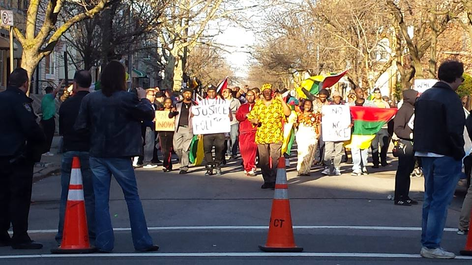Protest scene being filmed in Ridgewood on Saturday. Photo by Marty Dee on Facebook.