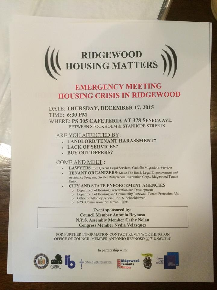 Flier courtesy Ridgewood Tenants and Neighbors Association.