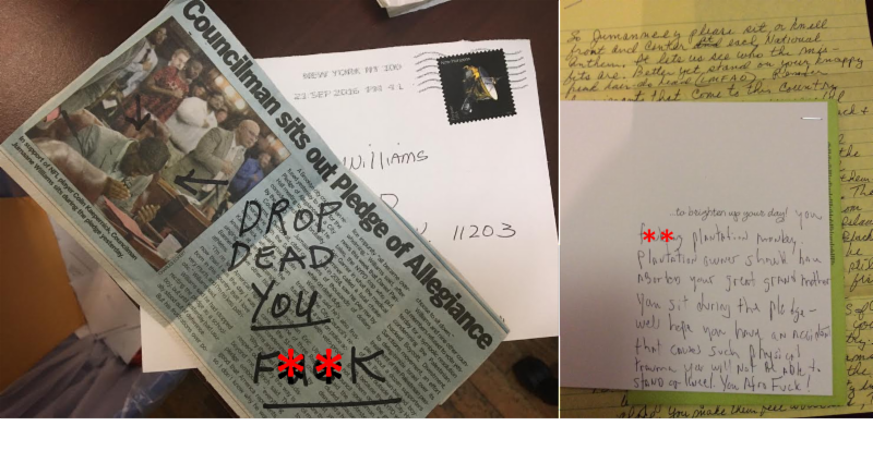 Hate mail received by Councilman Jumaane Williams for sitting during the Pledge of Allegiance.